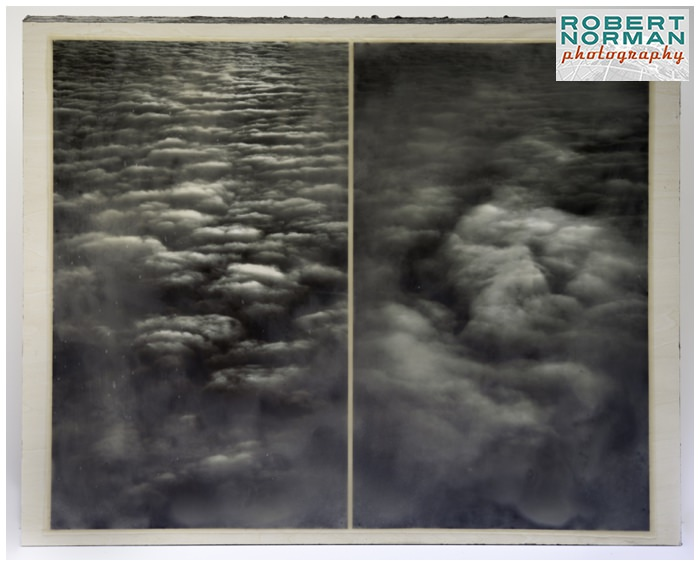 encaustic-fine-art-b&W-clouds-from-airplane